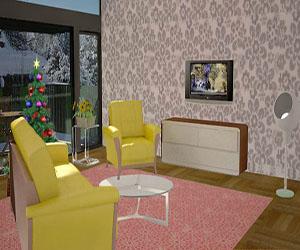 3D Christmas Living Room Decoration