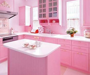 Bright Pink Kitchen With Floral Ch... This Pink Kitchen Is Sure To Draw  Your Attention From The Moment You .