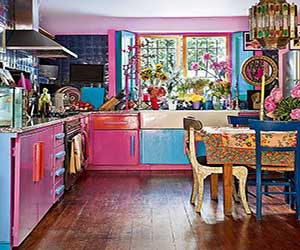 Bright Quirky Kitchen With Pink And Blue Cabinets