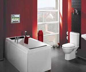Chic And Red Bathroom