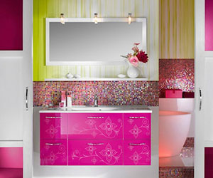 This Bathroom Is Bold. Lime And Magenta Battle For Attention In This .