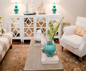 Cream And White Living Room With Teal