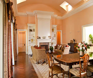Peach Living Room With Arched Ceiling