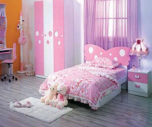 Pink And Purple Bedroom With A Wall Of Gold