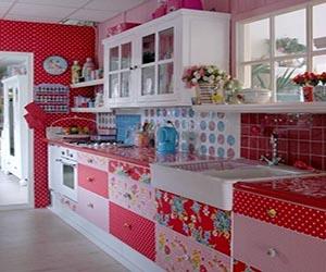 Pink Red Fl Kitchen