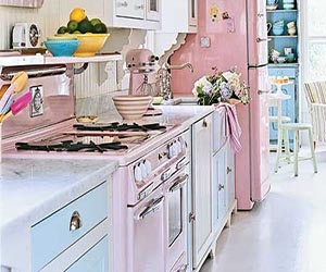 Soft Pink And Blue Kitchen