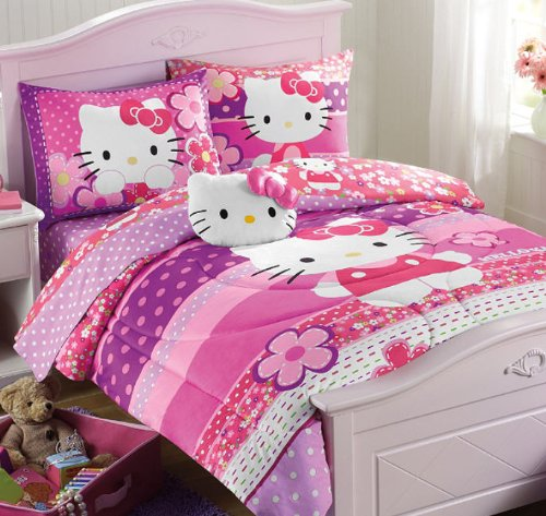 Bedroom With Hello Kitty Bed Spread