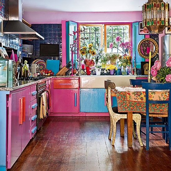Bright Quirky Kitchen With Pink And Blue Cabinets Room Decor And