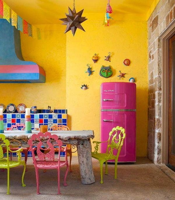 Bright Yellow Kitchen With Fun Color Accents