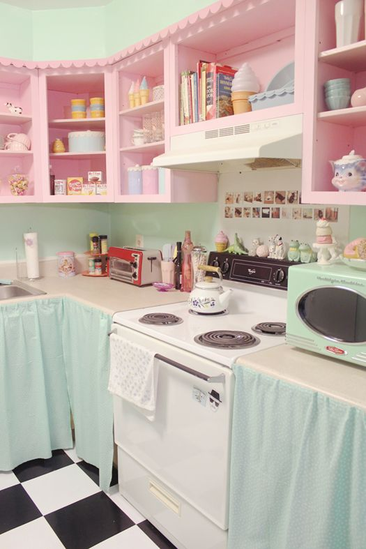 Charming Pink And Blue Kitchen