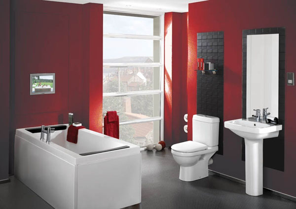 Chic and mature red bathroom room decor and design