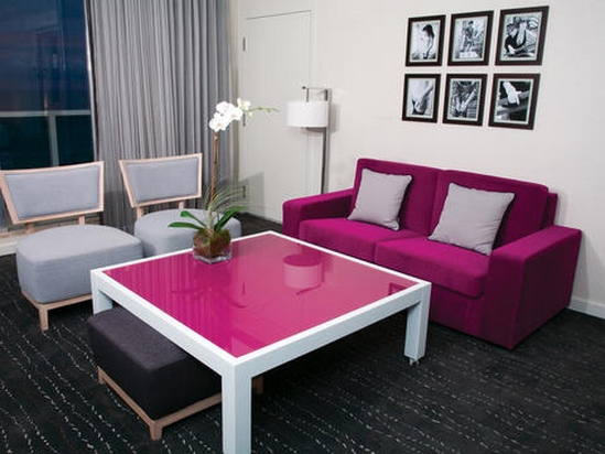 Chic Pink and Periwinkle Living Room - Room Decor and Design