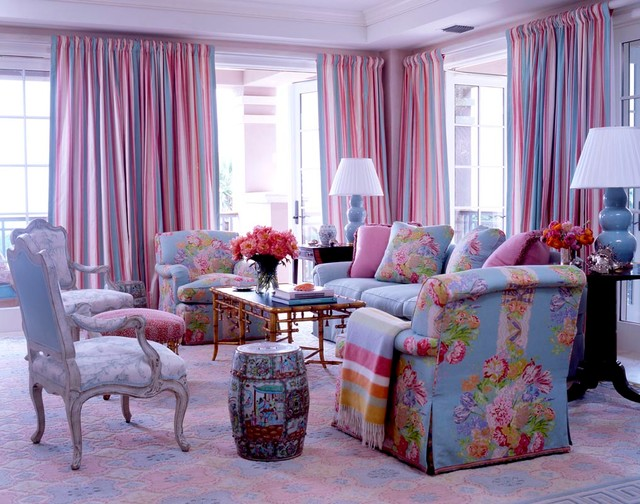 Colorful Pink And Blue Living Room