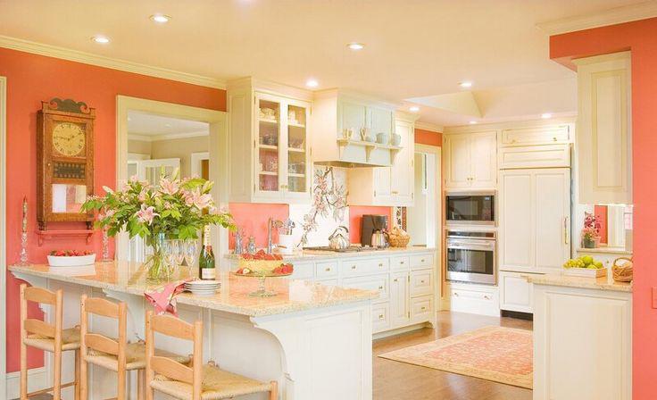 Coral And Cream Colored Kitchen