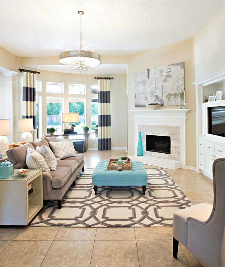 Cream colored living room with pops of teal room decor for Living room designs for big spaces