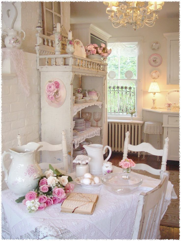 awesome Floral Kitchen Decor #7: perfect cream lace floral kitchen room decor and design with pink kitchen  decor.