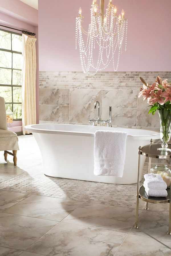 Delicate Pink And Tan Bathroom