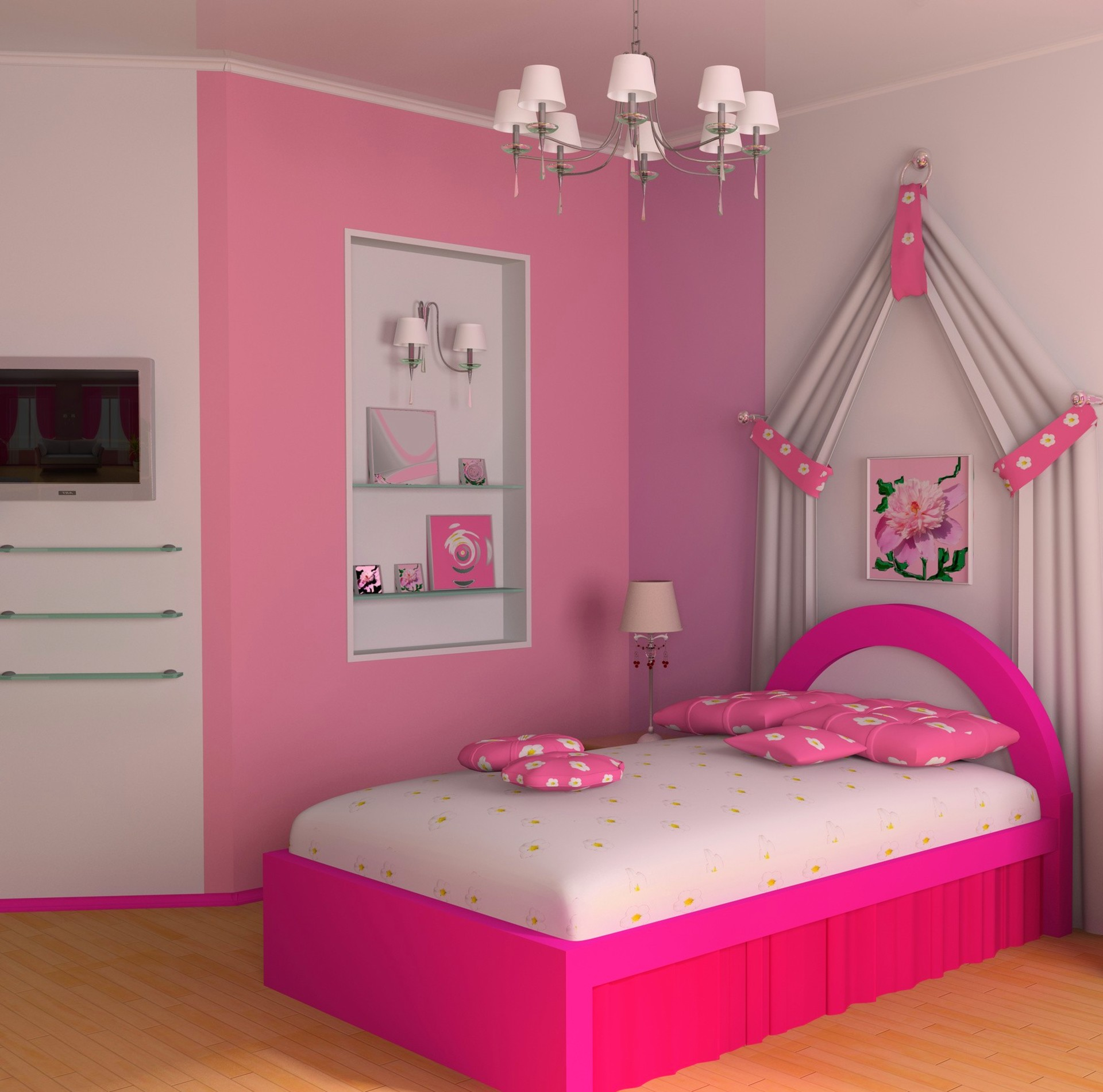 Flowery Bedroom With Sunk In