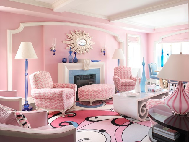 Fun Pink Living Room with Blue Accent Pieces - Room Decor and Design