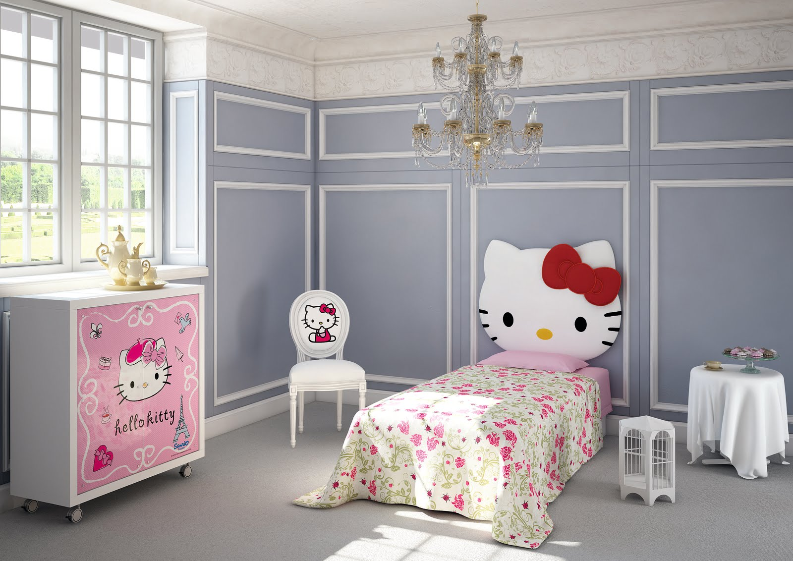 Gray hello kitty bedroom room decor and design for Decoration hello kitty chambre
