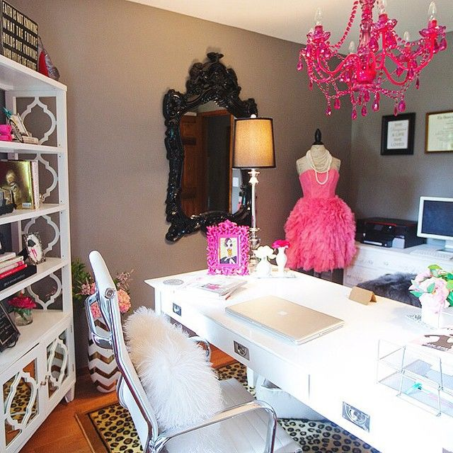 Gray office with pink chandelier room decor and design downloadview in fullscreen prev more room decor mozeypictures Image collections