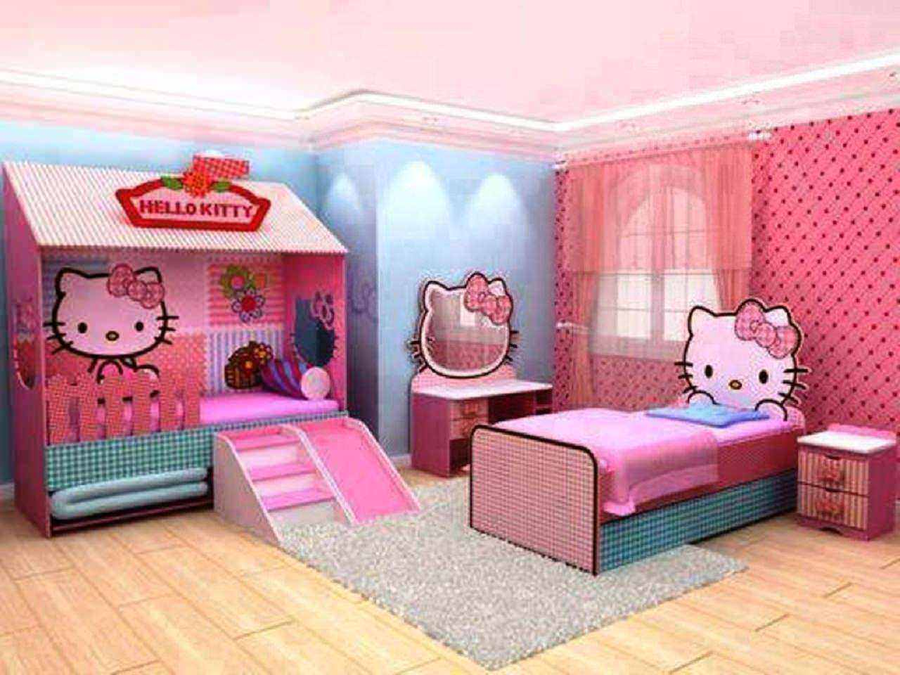 Hello Kitty Bedroom with Blue Walls Room Decor and Design
