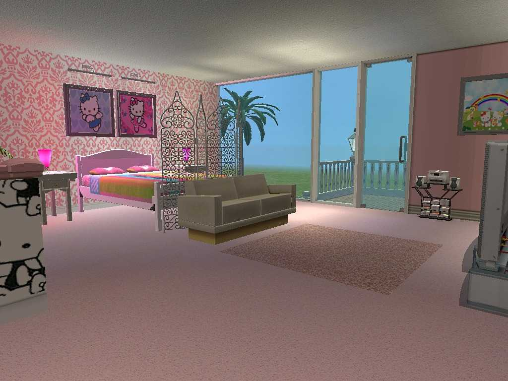 Hello kitty bedroom with damask wallpaper room decor and for My room wallpaper