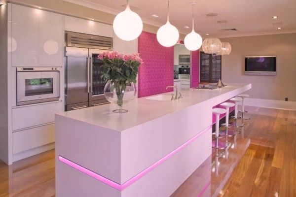 Hot Pink And White Kitchen