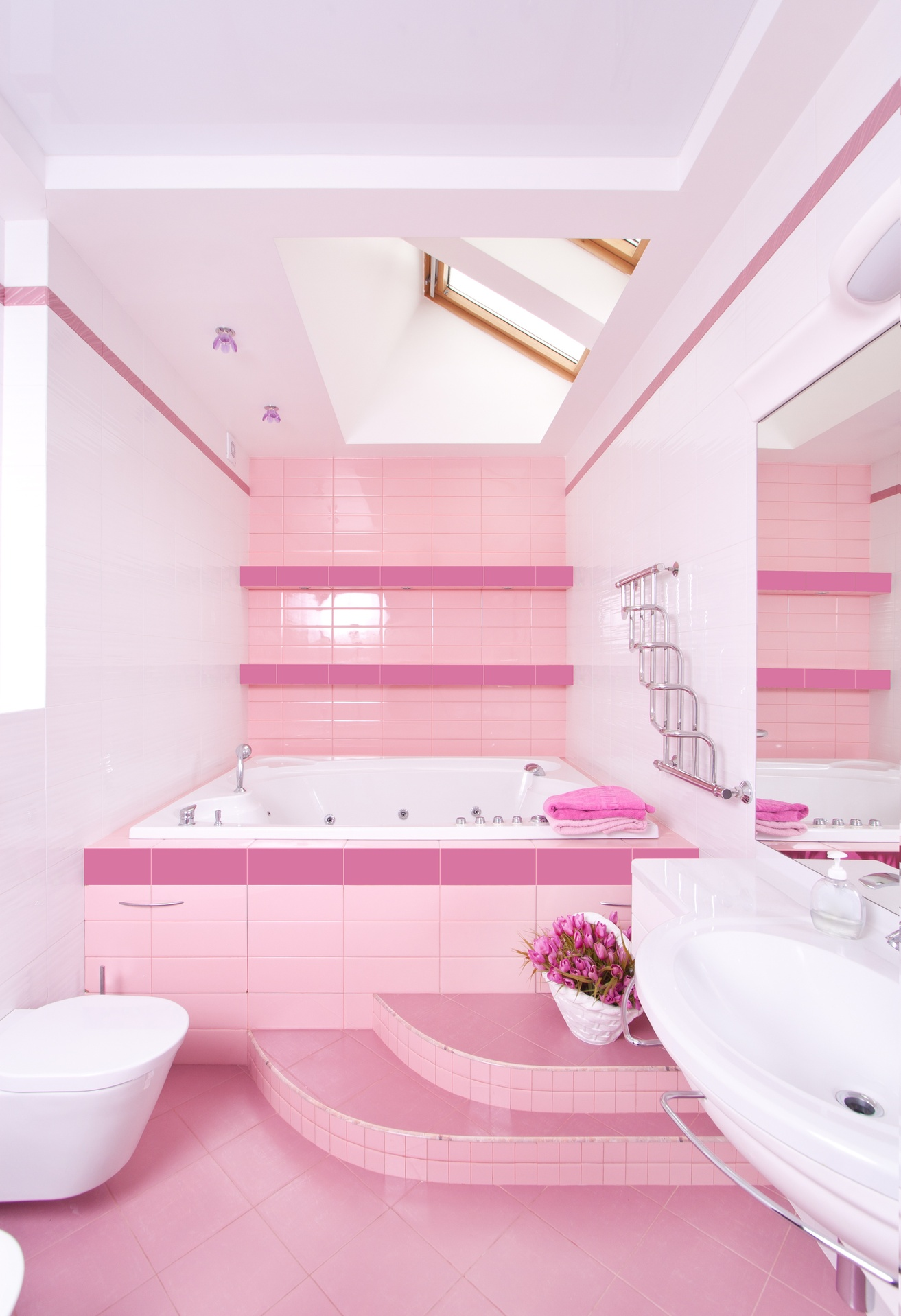 Light Pink Tiled Bathroom With Dark Pink Trim Room Decor