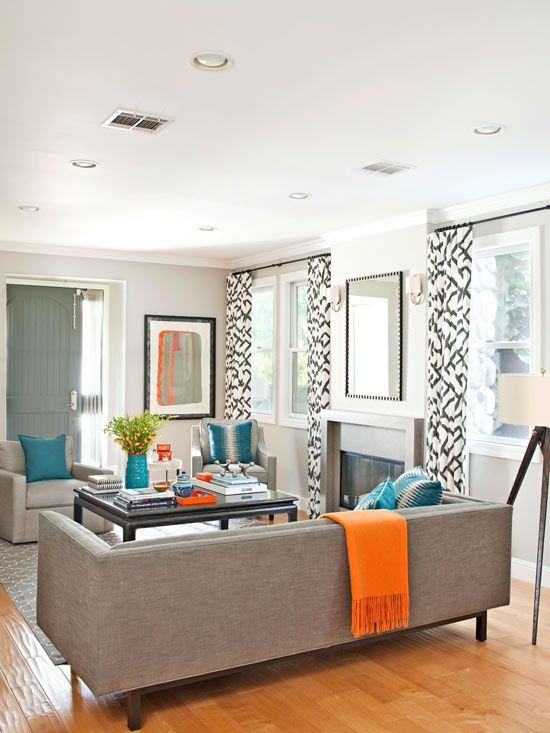 Modern Living Room with Teal and Orange Accents - Room Decor ...