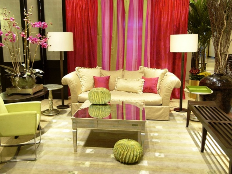Modern pink red and green living room room decor and for Modern living room green