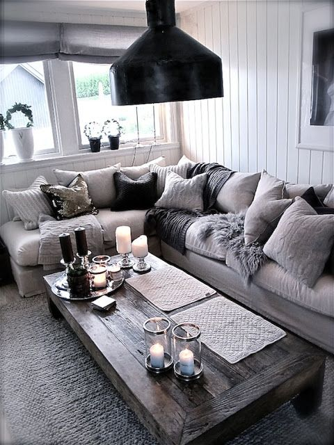 Monochrome Rustic Living Room - Room Decor and Design