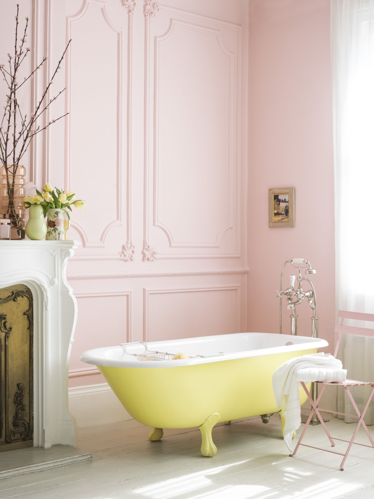 Pink Bathroom With Yellow Tub