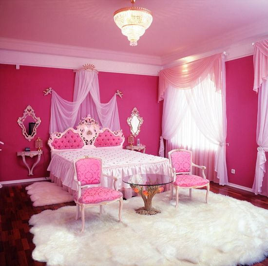 Prev  More Room Decor. Pink Bedroom with Glass Table   Room Decor and Design