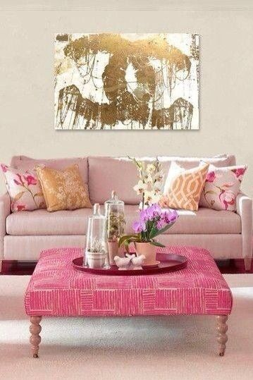 Pink, Gold, Chanel Living Room - Room Decor and Design