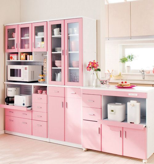 Pink Kitchen With Glass Panel Cabinets