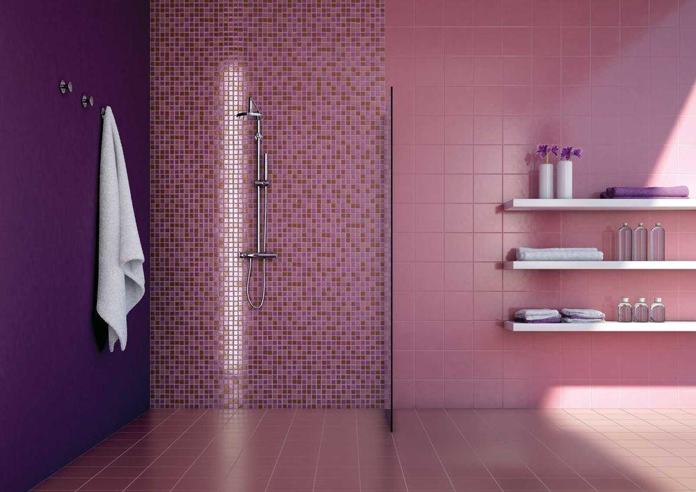 Purple Bathroom with Plum Accent - Room Decor and Design