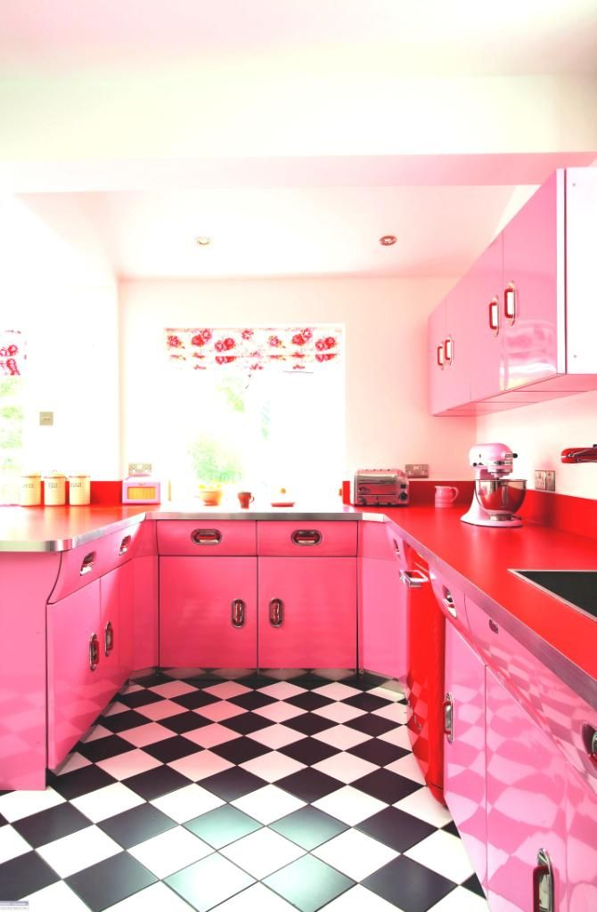 Red and Pink Retro Kitchen - Room Decor and Design