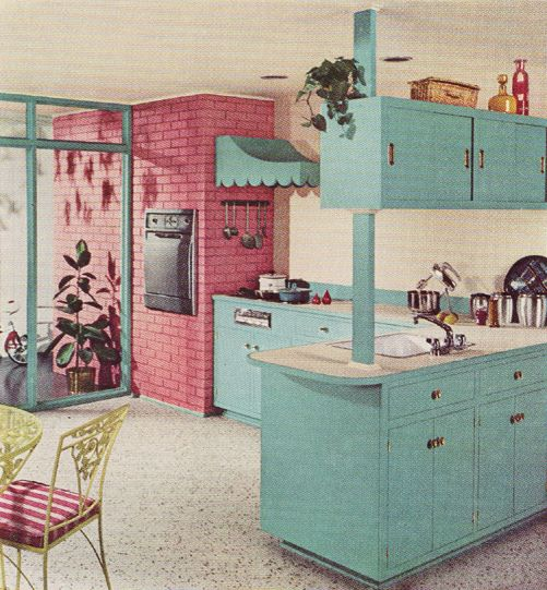 Retro Kitchen With Exposed Brick Room Decor And Design