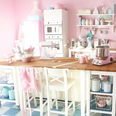 Retro pink and blue kitchen room decor and design for Kitchen decoration pink