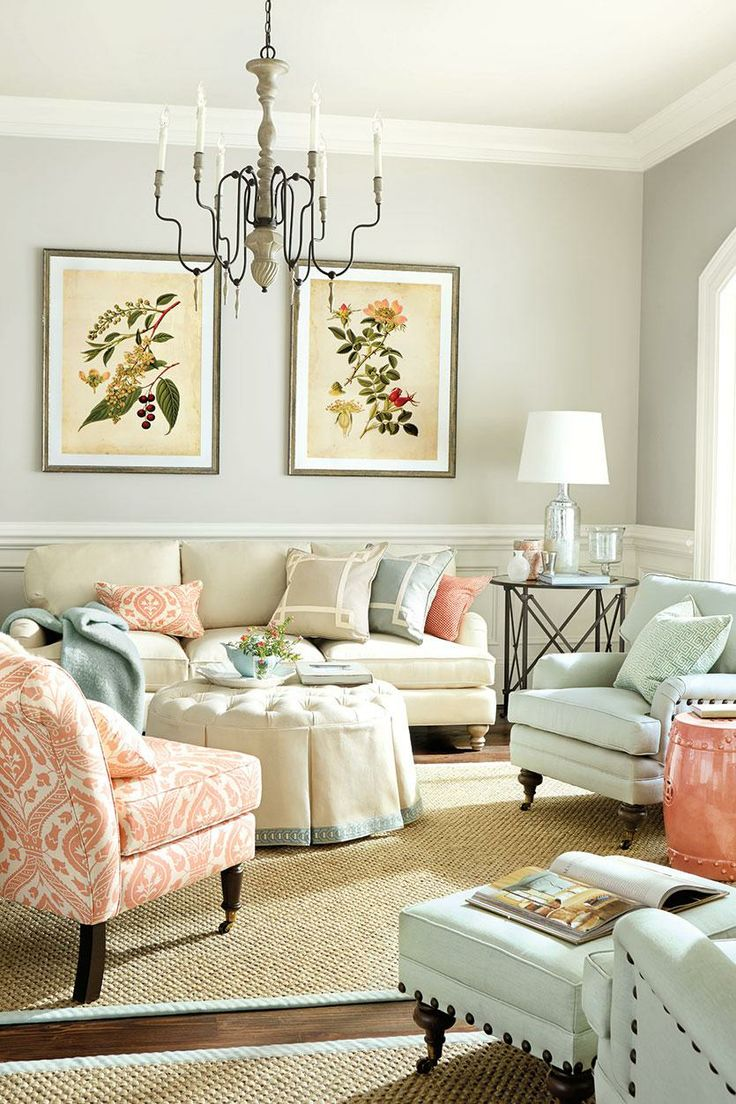 Soft Pastel Living Room With Coral Blue And Beige Room Decor And Design