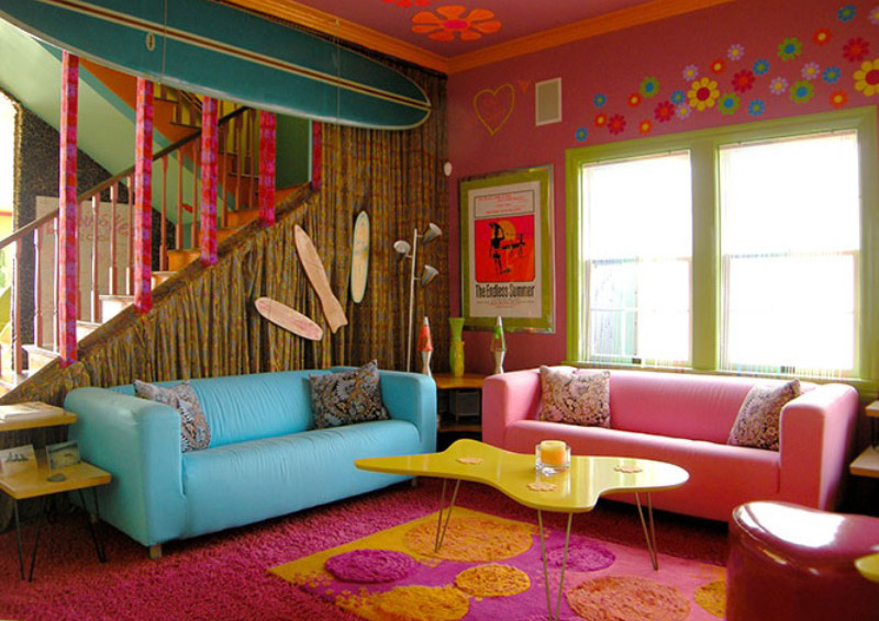 Vibrant Tropical Living Room - Room Decor and Design