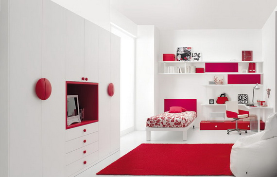 White Bedroom With Red Accents Room Decor And Design