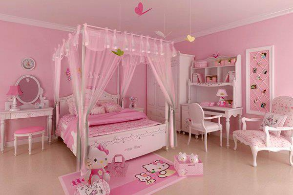 Pale Pink Hello Kitty Bedroom - Room Decor and Design
