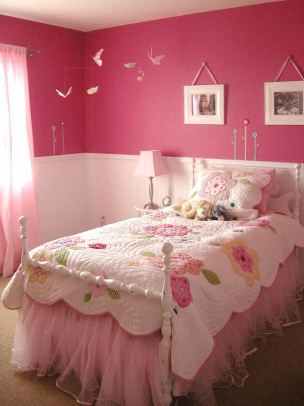 Pink Bedroom With Bird Mobile Room Decor And Design