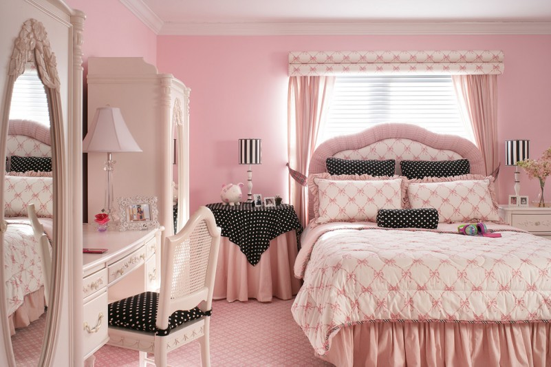 pink room with black and white polka dots room decor and 19050 | pink room with black and white polka dots mygirlyroom