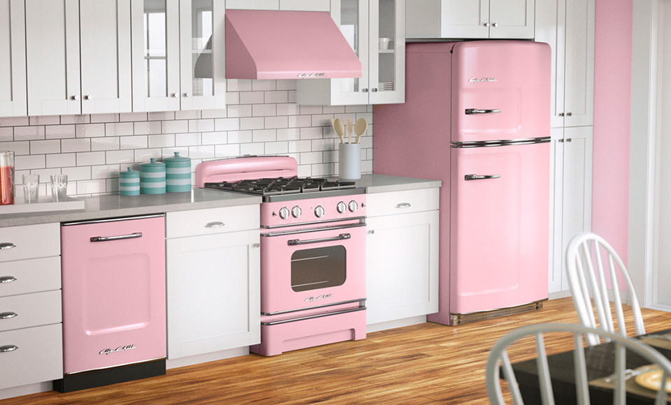 White Kitchen With Pink Liances Room Decor And Design